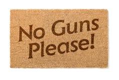 Żadny pistolety Zadawalają Mile widziany matę Na bielu obraz stock