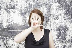 Żadny ręka pisać Zdjęcie Royalty Free