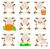 Ładny set kreskówek krowy Zdjęcie Royalty Free