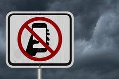 Żadny Texting i Jedzie znak Zdjęcia Stock