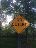 Żadny ujście koloru żółtego znak z czerni granicą, znak uliczny Obrazy Royalty Free