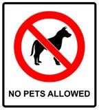 Żadny zwierzę domowe pozwolić szyldowy ilustracyjny wektor żadny psy, zadawala, ostrzegający majcheru dla miejsc publicznych odiz ilustracji