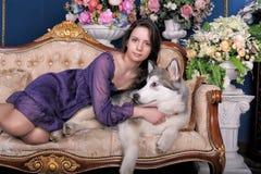 Ado de fille et malamute de chien sur le sofa Images stock
