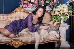 Ado de fille et malamute de chien sur le sofa Image stock