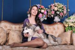 Ado de fille et malamute de chien sur le sofa Photo libre de droits