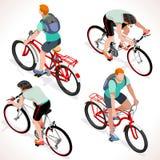 Ado de garçon faisant un cycle les personnes isométriques illustration stock