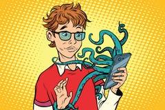 Ado et poulpe dans le smartphone, danger en ligne illustration stock