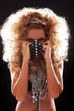 Ado masoshist woman pulling her mask Royalty Free Stock Photos