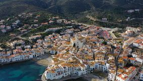 Cadaques Spain. cozy beautiful houses streets and tiled roofs. Aerial drone video footage of the camera approaches the. Adoarble Cadaques Spain. cozy beautiful stock video