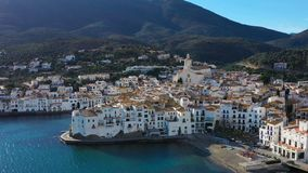 Adoarble Cadaques Spain. cozy beautiful houses streets and tiled roofs. Aerial drone video footage of the camera. White city Cadaques Spain. cozy beautiful stock video
