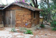 Adobe小屋恰帕斯州,墨西哥 库存图片