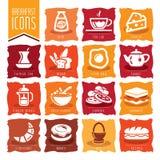 Adobe all frukost colors skapat enkelt för set för global illustratör för lutningsymbolssymboler realistiskt använt Royaltyfria Foton