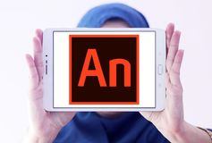 Adobe Animate software logo. Logo of Adobe Animate software on samsung tablet holded by arab muslim woman. Adobe Animate is a multimedia authoring and computer stock images