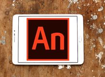 Adobe Animate software logo. Logo of Adobe Animate software on samsung tablet. Adobe Animate is a multimedia authoring and computer animation program developed royalty free stock photos