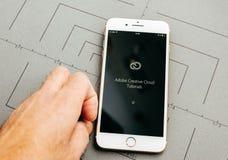 Adobe-APP auf iPhone 7 plus die Anwendersoftware Stockbilder