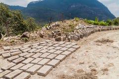 Adobe bricks dry in Belen Gualcho village, Hondur stock images