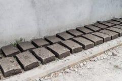 Adobe bricks dry in La Campa village, Hondur. As stock images