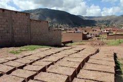 Adobe bricks in the sun to dry. In Cusco, Peru royalty free stock photo