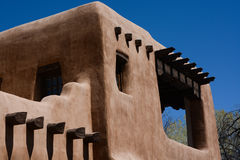 Adobe Building in Southwest. Upper corner of an adobe structure in Santa Fe, New Mexico Stock Image