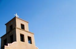Santa Fe Adobe Church. An adobe church steeple in New Mexico stock photos