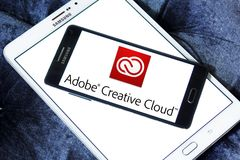 Adobe Creative Cloud logo. Logo of Adobe Creative Cloud on samsung mobile. Adobe Creative Cloud is a set of applications and services from Adobe Systems that Stock Photography