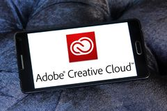 Adobe Creative Cloud logo. Logo of Adobe Creative Cloud on samsung mobile. Adobe Creative Cloud is a set of applications and services from Adobe Systems that stock photo