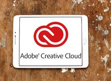 Adobe Creative Cloud logo. Logo of Adobe Creative Cloud on samsung tablet. Adobe Creative Cloud is a set of applications and services from Adobe Systems that Stock Photos