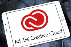Adobe Creative Cloud logo. Logo of Adobe Creative Cloud on samsung tablet. Adobe Creative Cloud is a set of applications and services from Adobe Systems that royalty free stock photo