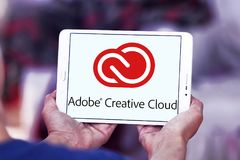 Adobe Creative Cloud logo. Logo of Adobe Creative Cloud on samsung tablet. Adobe Creative Cloud is a set of applications and services from Adobe Systems that Royalty Free Stock Photos