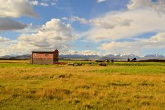 Adobe Farmer House in the Countryside of Bolivia Royalty Free Stock Images