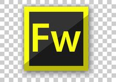 Adobe fireworks icon design with tile button background. Design vector of custom mobile application icon white tile background Royalty Free Stock Image