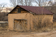 Adobe Garage. A garage near Chimayo, New Mexico made from adobe Royalty Free Stock Photo