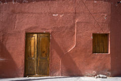 Adobe home in Mexico. Mexican adobe house facade detail in the village of Atotonico Royalty Free Stock Images