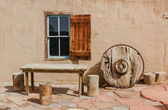 Adobe home. With outside furniture Royalty Free Stock Images
