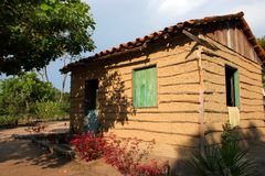 Adobe house. Amazonian house constructed with adobe and twigs of tree Royalty Free Stock Photography
