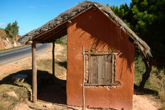Adobe house. Typical adobe hut on yhe national highway 7 near Antananarivo, Madagascar Royalty Free Stock Photography