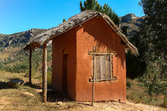 Adobe house. Typical adobe hut on yhe national highway 7 near Antananarivo, Madagascar Stock Image