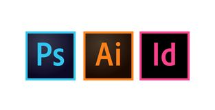 Adobe Icons Photoshop, Illustrator and Indesign Editorial Vector stock illustration