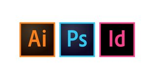Adobe Icons Photoshop, Illustrator and Indesign Editorial Vector. Illustration royalty free illustration
