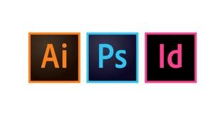 Adobe ikony Photoshop ilustratora i Indesign artykułu wstępnego, wektor royalty ilustracja