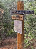 Adobe Jack Trail, Sedona, Arizona. Signs on the trail, Coyote and Adobe Jack trails, Sedona, Arizona stock photo