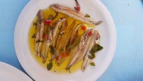 Adobe la placa griega tradicional del mar de las anchoas con los pescados crudos Foto de archivo