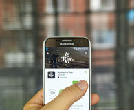 Adobe La Rue. MONTREAL, CANADA - JULY, 15 : Adobe La Rue application on Samsung s7 screen. Adobe La Rue is the app for intersecting passion of cycling and Royalty Free Stock Image