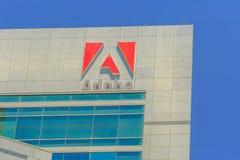 Adobe Logo California. San Jose, California, United States - August 12, 2018: Adobe Logo at Adobe Headquarters. Adobe is leader company of software for graphic Stock Photo
