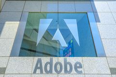 Adobe logo isolated. San Jose, California,United States - August 12, 2018:Adobe palace window with logo isolated at Adobe Headquarters. Adobe leader in software Stock Images