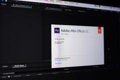 Adobe nach Effektmenü Lizenzfreie Stockfotos