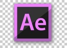 Adobe nach Hintergrund des weißen Quadrats des Effektikonendesigns Stockfoto