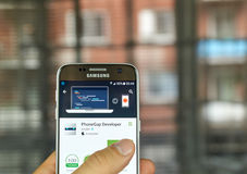 Adobe PhoneGap Developer. MONTREAL, CANADA - JULY, 15 : Adobe PhoneGap Developer application on Samsung s7 screen. The PhoneGap Developer is a testing utility Royalty Free Stock Image
