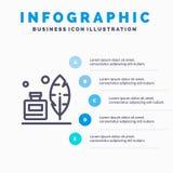 Adobe, pluma, Inkbottle, línea americana icono con el fondo del infographics de la presentación de 5 pasos ilustración del vector