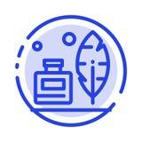 Adobe, pluma, Inkbottle, línea de puntos azul americana línea icono ilustración del vector